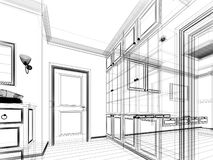 Abstract sketch design of interior walk-in closet. 3d wire frame Royalty Free Stock Photos