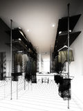 Abstract sketch design of interior walk-in closet Royalty Free Stock Image