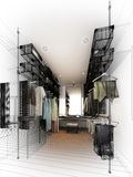 Abstract sketch design of interior walk-in closet Stock Photography