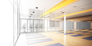 Abstract sketch design of interior yoga room Stock Images