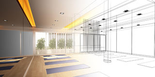 Abstract sketch design of interior yoga room Stock Photography