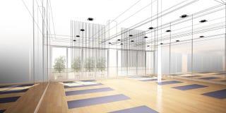 Abstract sketch design of interior yoga room Stock Photos