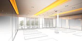 Abstract sketch design of interior yoga room Royalty Free Stock Image