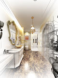 Abstract sketch design of  luxurious interior bathroom Royalty Free Stock Photo