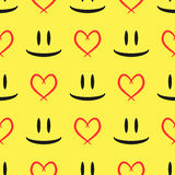Abstract sketch of the eyes and smiling mouth. Contour of the heart. Seamless pattern. Black, yellow, red. Vector illustration Stock Image