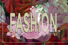 Abstract sketch girl model, white dress, hat, text Fashion. Beauty  show, red  floral pattern with butterflies , color  design print, trandy background green Stock Photo