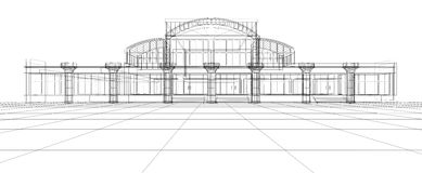 Abstract sketch of office building. Abstract 3D design sketch of office building Stock Photos