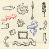 Abstract sketch set, arrows stock illustration
