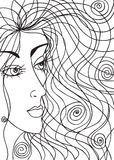 Abstract sketch of woman face Stock Photo