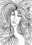Abstract sketch of woman face Stock Photography