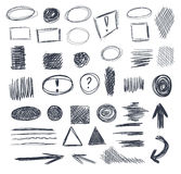 Abstract sketched VECTOR scribble shapes. Set on elements Stock Photos