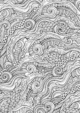 Abstract sketchy doodles hand drawn ethnic pattern Stock Images