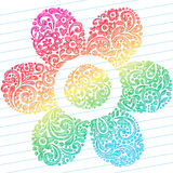 Abstract Sketchy Flower Notebook Doodles. Vector Illustration of Hand-Drawn Abstract Sketchy Paisley Henna Notebook Doodles in a Flower Shape on Lined Notebook Stock Photos