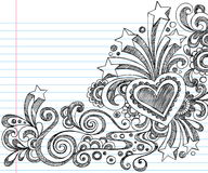 Abstract Sketchy Notebook Doodles. Vector Illustration of Hand-Drawn Abstract Sketchy Notebook Doodles with Stars, Hearts, and Swirls on Lined Notebook Paper Royalty Free Stock Photo