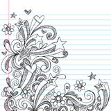 Abstract Sketchy Notebook Doodles. Vector Illustration of Hand-Drawn Abstract Sketchy Notebook Doodles with Stars, Hearts, and Swirls on Lined Notebook Paper Stock Image