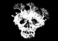 Abstract skull. With trees and graveyard on black background  illustration Royalty Free Stock Images