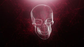 Abstract skull animation with red plexus background vector illustration