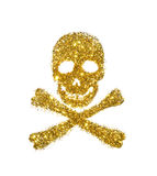 Abstract skull and crossbones of golden glitter on white background - interesting element for your design Royalty Free Stock Photos