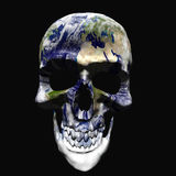 Planet earth mapped to skull. A 3d rendered human skull with an image of planet earth on its bones. Abstract concept that works as metaphor for pollution, global Stock Photos
