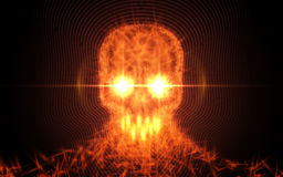 Abstract skull from fire, light particles on dark background. Vector illustration. Royalty Free Stock Photos