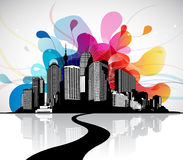 Abstract sky illustration with cityscape and bridge. Stock Photo