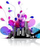 Abstract sky illustration with cityscape and bridge on the right Stock Photography