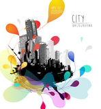 Abstract sky illustration with cityscape. Royalty Free Stock Images