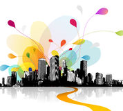 Abstract sky illustration with cityscape. Vector art Royalty Free Stock Photo