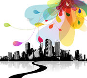 Abstract sky illustration with cityscape. Vector art Royalty Free Stock Images