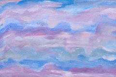 Abstract sky texture. Artistic design. Blue colors. Oil painted background. Modern artwork of an artist. Stock Image
