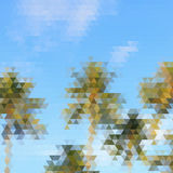 Abstract sky triangular pattern with coconut palms, vector illus Royalty Free Stock Images