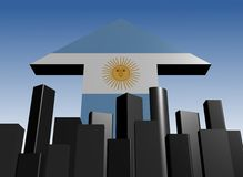 Abstract skyline and Argentina flag Royalty Free Stock Photos