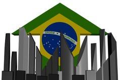 Abstract skyline and Brazil flag arrow Royalty Free Stock Photos