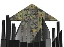Abstract skyline and dollars arrow Stock Photo