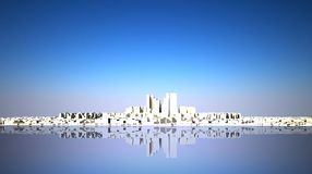 Abstract skyline with modern city. Abstract modern white city skyline 3d rendered Royalty Free Stock Image