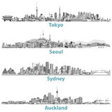 Abstract skylines of Tokyo, Seoul, Sydney and Auckland in grey scales. Stock Photos