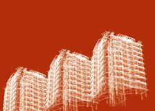 Abstract skyscrapers. 3d render illustration Royalty Free Stock Photos