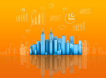Abstract skyscrapers and sketches graphs in the Stock Photography