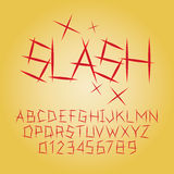 Abstract Slash Alphabet and Digit Vector. Set of Abstract Slash Alphabet and Digit Vector Royalty Free Stock Images
