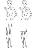 Abstract slender women two outlines Royalty Free Stock Photography