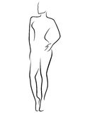 Abstract slim human body. Abstract human slim body laconic vector outline Royalty Free Stock Photos