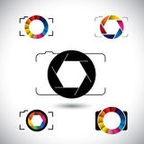Abstract slr camera concept vector icons Royalty Free Stock Photos