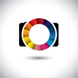 Abstract SLR digital camera with colorful shutter vector icon. This graphic is a simple vector representation of stylish lens or aperture of a digital camera Stock Images