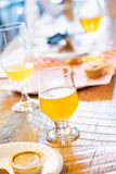 Abstract of Small Glass of Micro Brew Beers On Bar.  stock photos