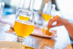 Abstract of Small Glass of Micro Brew Beers On Bar.  stock photo