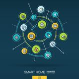 Abstract smart home technology background. Digital connect system with integrated circles, flat thin line icons. Vector Royalty Free Stock Images