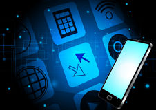 Abstract smartphone and application with technology background concept design Stock Image