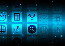 Abstract smartphone application with technology background concept design Royalty Free Stock Photos