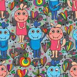 Abstract smile evil seamless pattern Stock Images