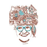 Abstract smiling woman in glasses,  illustration, easy to use Stock Photography